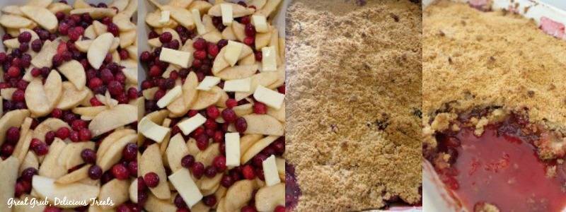 Cranberry Apple Crisp in process shots