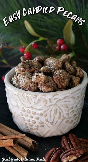 Candied pecans in a white bowl with cinnamon sticks and whole pecans in the foreground with green folage in the background with the title centered at the top of picture.