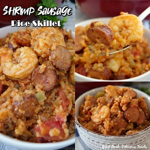 Three picture collage of Shrimp Sausage Rice Skillet in a white bowl with title in the upper left hand corner.