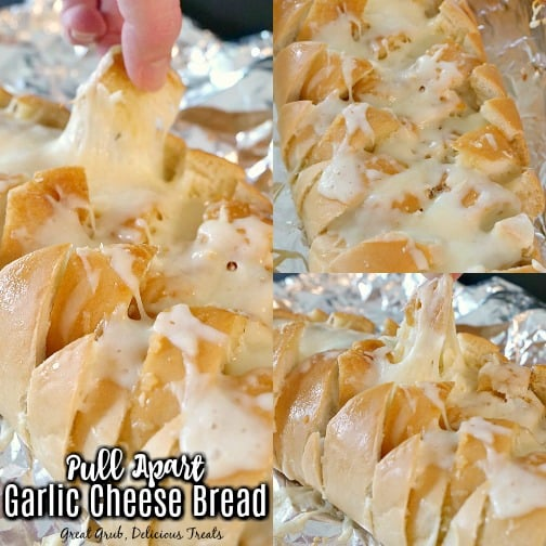 A 3 photo collage of garlic cheese pull apart bread showing melted cheese down in the crevasses and a piece being pulled off.