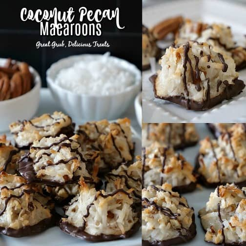 A 3 photo collage of coconut pecan macaroons sitting on a white plate in all 3 photos. In the main photo, there are 2 small white bowls in the background with pecans in one and coconut flakes in the other.