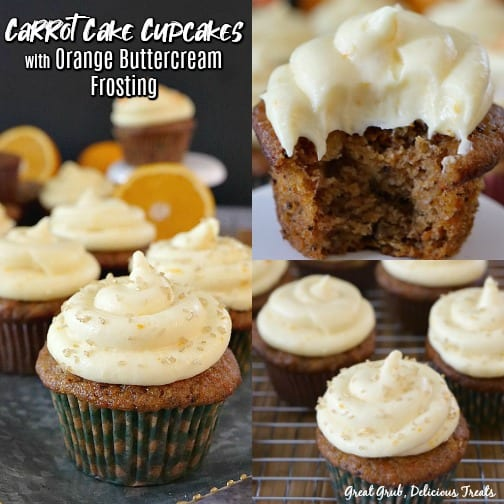 A collage of three pictures of Carrot Cake Cupcakes with Orange Buttercream Frosting with title in upper left corner.