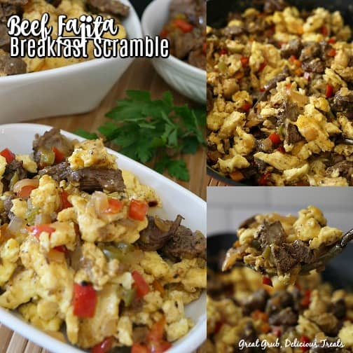 3 photo collage of beef fajita breakfast scramble is a white bowl with 2 other white bowls with breakfast scramble in them too and 2 up close photo of the beef fajita scramble.