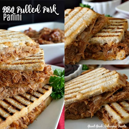 A 3 photo collage of BBQ pulled pork paninis, all on a white plate, all photos have sandwich halves and are stacked up on one another.
