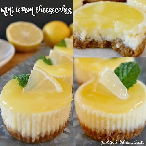 A 3 photo collage of mini lemon cheesecakes with the left photo of a silver tray with 3 mini cheesecakes lined up with lemons in the background, the top right picture is of a mini cheesecake with a bite taken out of it, and the bottom right picture is of one mini cheesecake topped with a small wedge of lemon and a piece of mint.