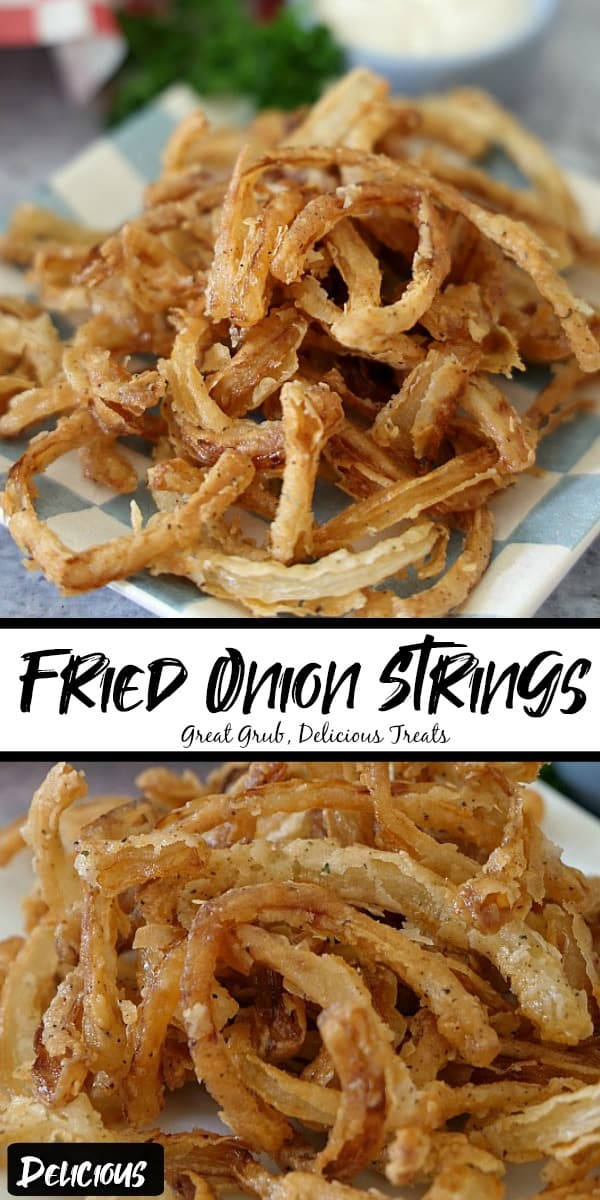 Two photos of fried onion strings on a white and blue checkered plate with the title in the middle.