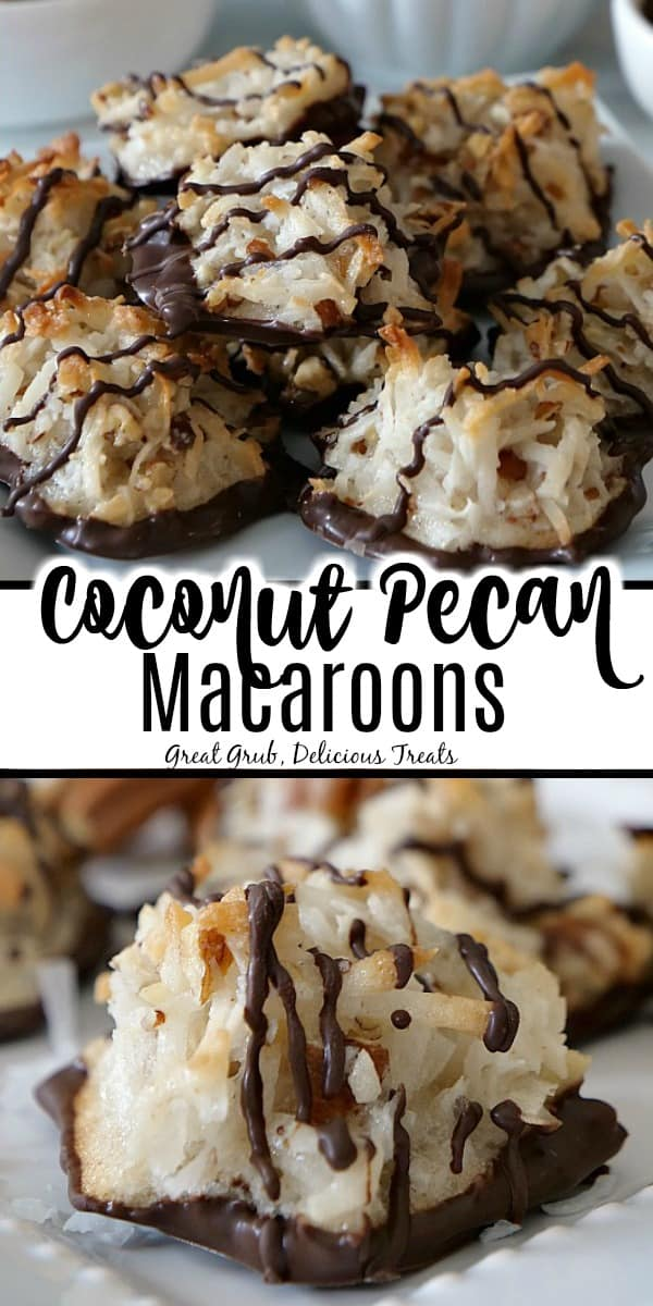 A double photo of coconut pecan macaroons sitting on a white plate, lightly toasted brown, and drizzled in dark chocolate.
