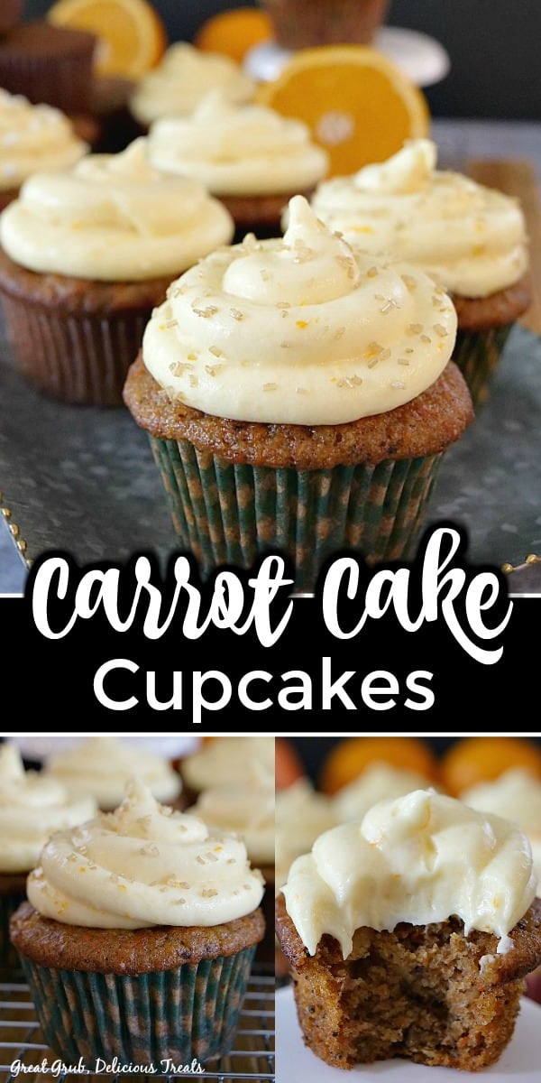 Three pictures of Carrot Cake Cupcakes with Orange Buttercream Frosting with title in the middle.
