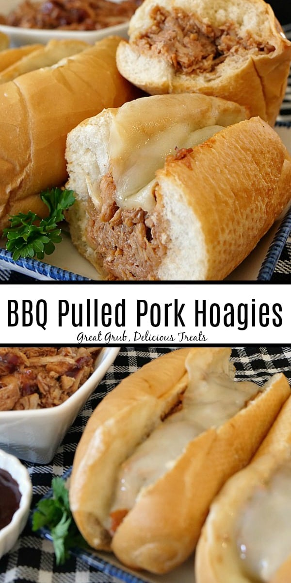 Two pictures of BBQ Pulled Pork Hoagies on a white plate with blue trim with a white bowl full of barbecue pulled pork in the background with the title in between both pictures.