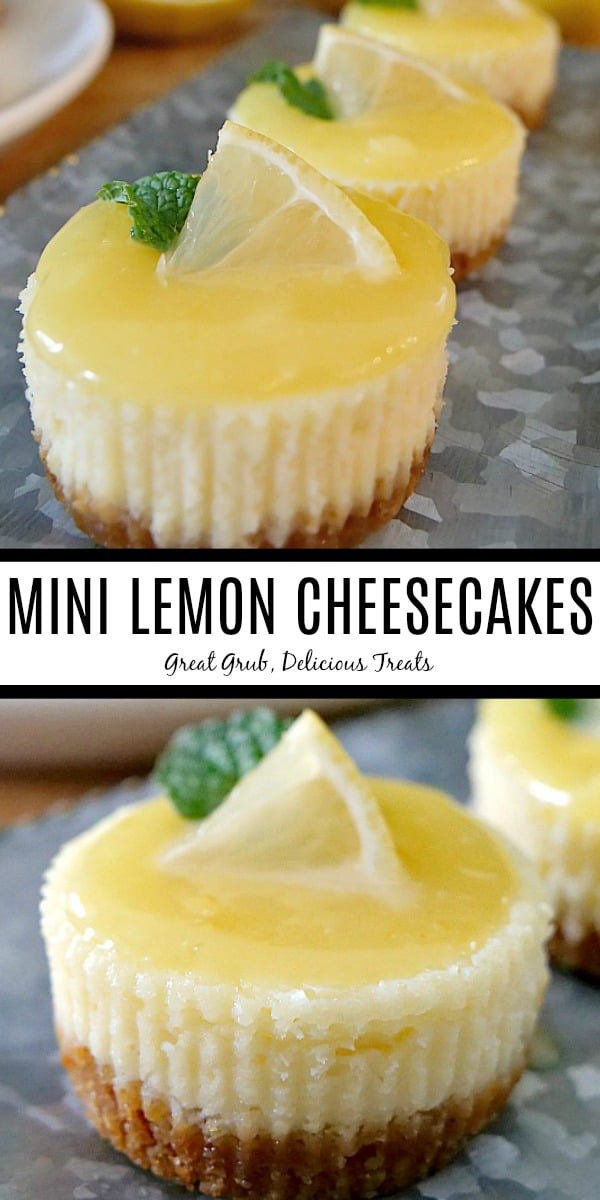A double photo of mini lemon cheesecakes with the top photo of a silver tray with 3 mini cheesecakes lined up and the bottom picture is of one mini cheesecake all topped with a small wedge of lemon and a piece of mint.