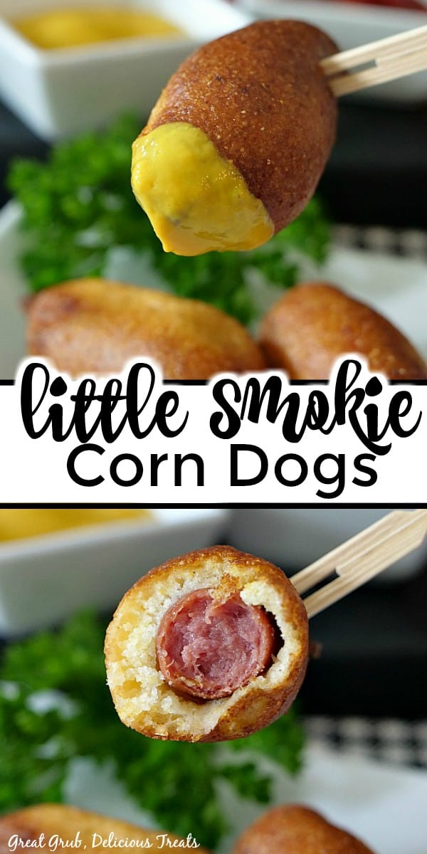 A double picture with little smokie corn dogs on a small white plate with one corn dog dipped in mustard and a corn dog with a bite taken out.