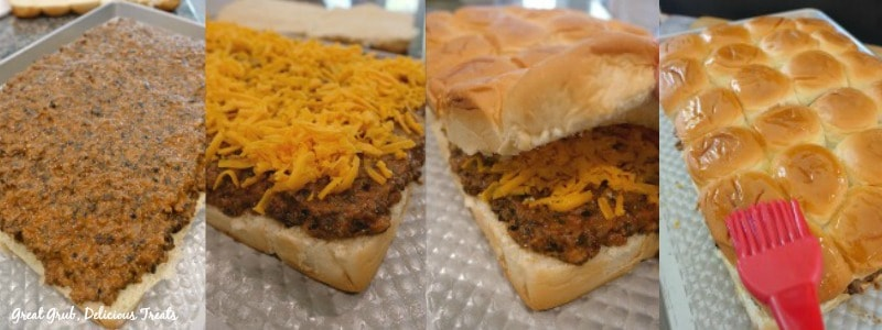 Cheesy Beef Sliders - in process shots