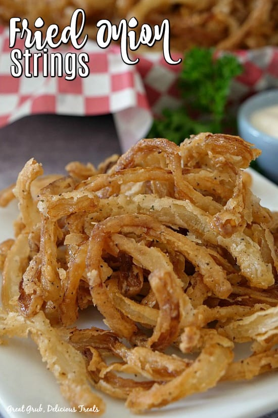Fried onion strings on a white plate with a basket of onion rings in the background, with parsley and a small blue bowl filled with ranch.