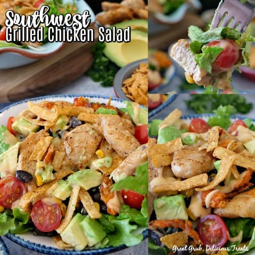 A three photo collage of southwest grilled chicken salad topped with grilled chicken, tomatoes, avocados, tortilla strips, corn, black beans, and dressing.