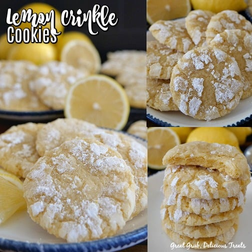 A 3 photo collage of lemon crinkle cookies on a white plate with lemons in the background as well as lemon wedges on one of the plates.