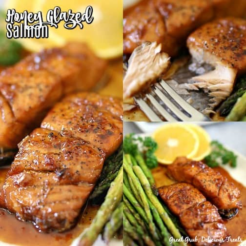 A collage of 3 pictures of Honey Glazed Salmon with the title in the top left corner.