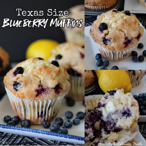 A 3 photo collage with blueberry muffins on white plates with blueberries on plates and lemons in the background.