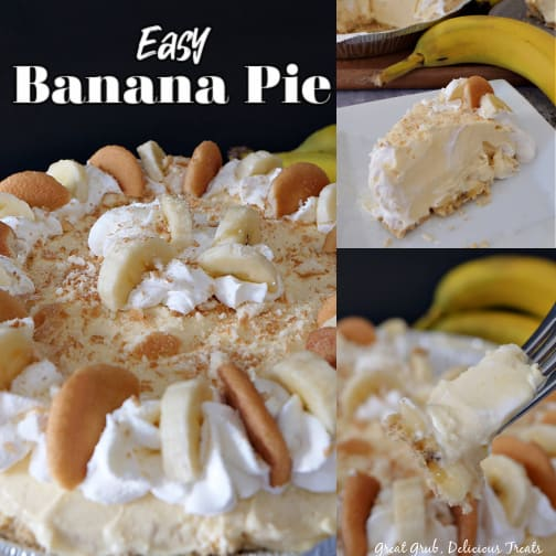 A collage of 3 photos with a whole banana pie in one photo, a slice of pie on a white plate in another and a bite of pie on a fork showing the creamy pie and a slice of banana in the third.