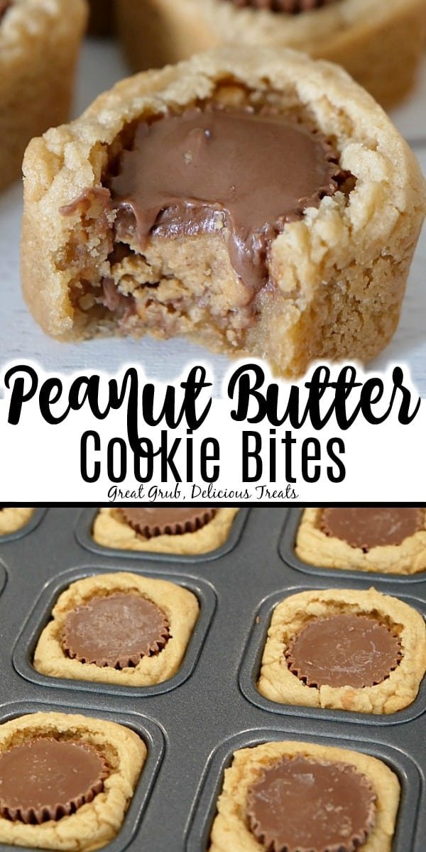 Two photos of peanut butter cookie bites. Top picture is a cookie bite with a bite taken out, showing the Reese's® miniature cup in the center, the bottom picture is the cookie bites in the baking tray, the title is in the middle.