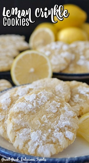 Lemon crinkle cookies on two white plates with blue rims with lemon in the background.