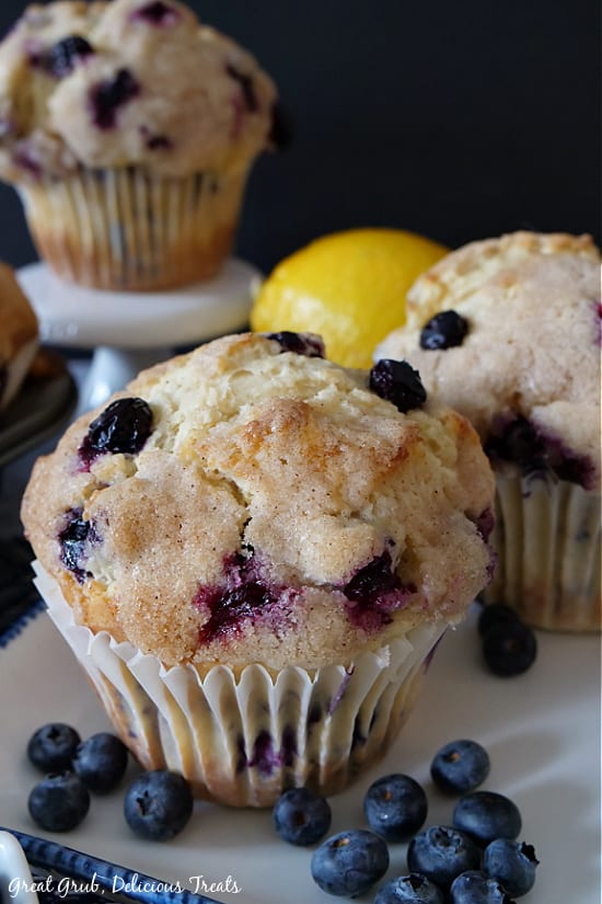 Two Texas-Sized Blueberry Muffins on a white plate with blueberries loosely spread on plate in front of muffin. Another Texas-Sized Blueberry Muffin is in the background on a white cupcake pedestal, with a lemon in the background.