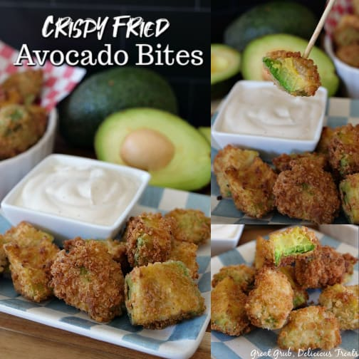 A collage of three pictures of Crispy Fried Avocado Bites on a light blue and white checkered plate.