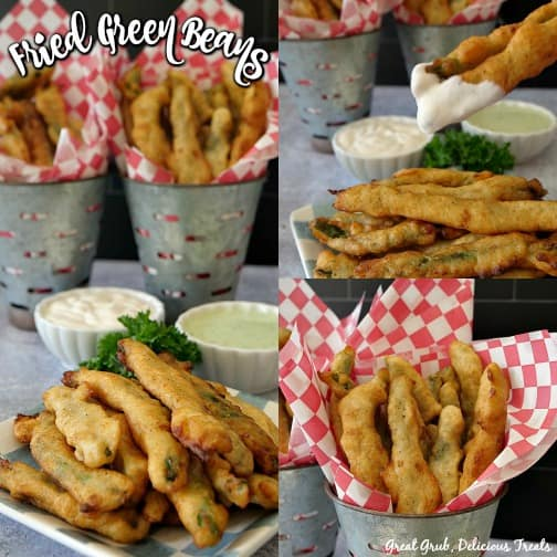 A collage of 3 pictures of Fried Green Beans with the title in the top left corner and the signature in the bottom right corner.