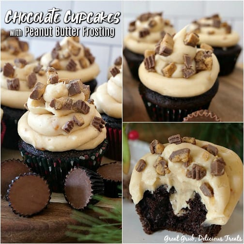 3 photo collage of chocolate cupcakes with peanut butter frosting and chunks of peanut butter cups on top with whole peanut butter cups in the foreground for decoration. One photo of a bite taken out of a cupcake with peanut butter filling in the middle.