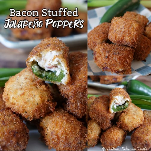 A three photo collage of stuffed jalapeno poppers with all pictures having stuffed peppers stacked on top of one another, jalapenos and green onions in the background, and 2 of the 3 photos have a bite taken out of the jalapeno popper where you can see the jalapeno and the cheese filling inside.