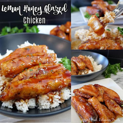 A 3 photo collage of a serving of lemon honey glazed chicken on a bed of white rice, a white plate with more chicken and a fork with a bite of chicken and rice on it.