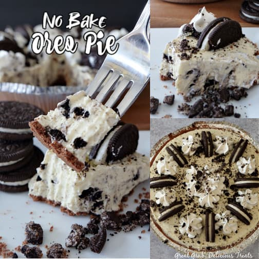 A 3 photo collage of no bake Oreo pie with a photo of the whole pie, a photo with a slice on white plate, and a close up photo of a bite of pie on a fork with oreos for decoration and the pie in the background.