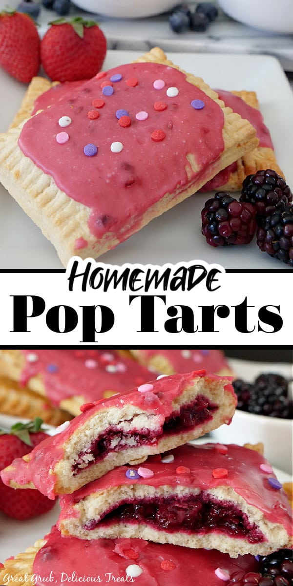 A double collage photo of Homemade Pop Tarts on a white plate with the title of the recipe in the center.