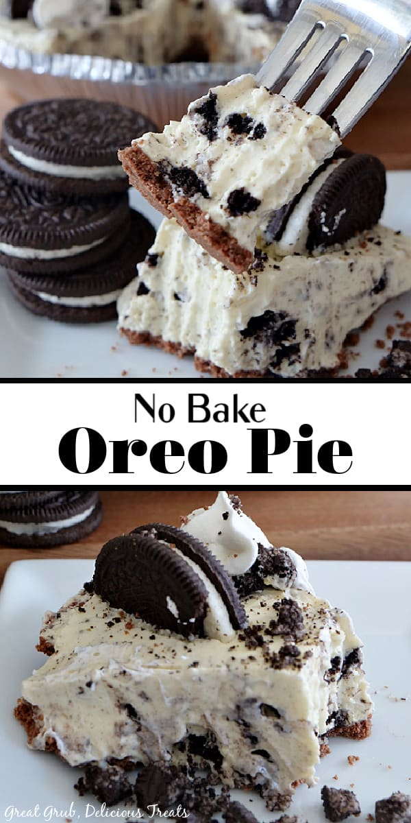 A double picture of a slice of oreo pie and a bite on a fork with oreos on the left side for decoration and the pie in the background and another picture of a slice of pie on a white plate with 1 oreo on top.