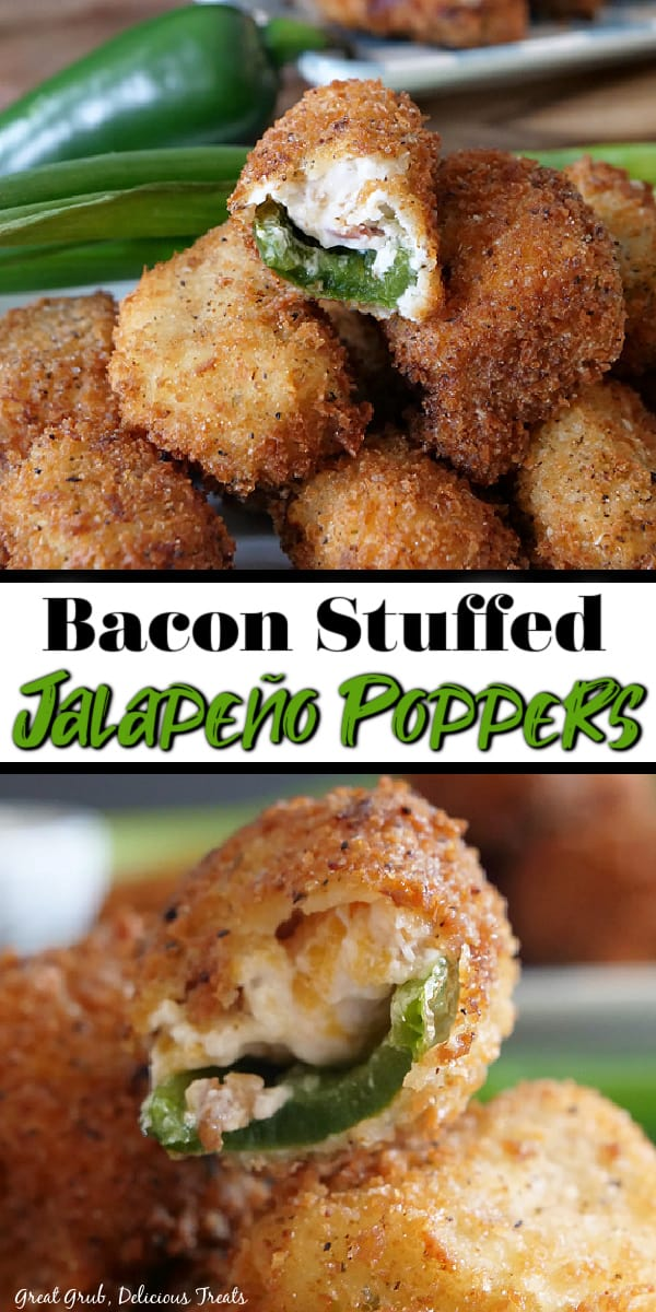 A double photo of stuffed jalapenos poppers stacked up on a white plate with green onions and a jalapeno in the background and another close up photo of a bite taken out of a stuffed pepper.