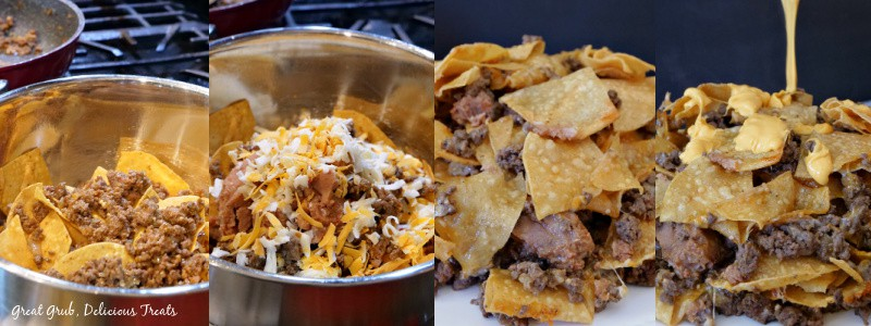 An in-process photo of the tortilla chips in the mixing bowl being topped with refried beans, ground beef, and shredded cheese.