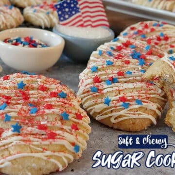 Sugar Cookie Recipe is a delicious and patriotic cookie recipe decorated with red, white, and blue stars and red sprinkles.