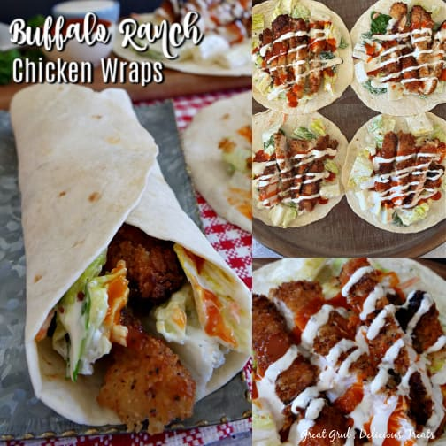 A 3 photo collage with a buffalo chicken wrap in one photo, 4 open faced flour tortillas with chicken strips, lettuce and ranch and buffalo sauce drizzled over them and the third photo is a close up of the chicken strips with the dressings drizzled over them.