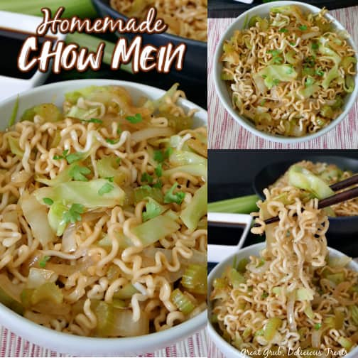 A 3 photo collage of a white bowl filled with homemade chow mein sitting on a white and red placemat.