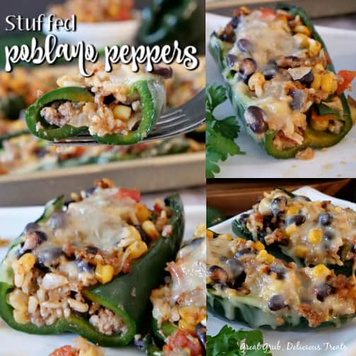 A 3 photo collage of stuffed poblano peppers on a white plate with melted pepperjack cheese on top.