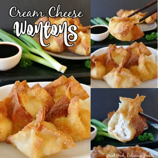 A 3 photo collage with a white plate with 5 cream cheese wontons on it, one photo shows chopsticks holding up a single wonton and the third photo shows that single wonton with a bite taken out of it.
