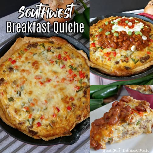 A 3 photo collage of southwest breakfast quiche in a cast iron skillet, topped with picante sauce, sour cream, and chili.