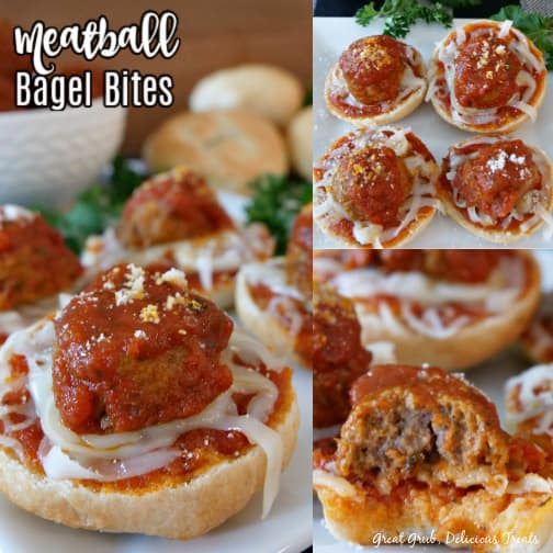 A collage of three pictures of Meatball Bagel Bites with the title in the top left picture.