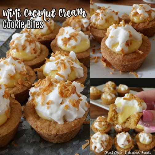 A 3 photo collage of coconut cream cookie bites with some on a silver tray, some on a white plate, and a bite taken out of one showing the coconut filling. All topped with whipped cream and toasted coconut flakes.