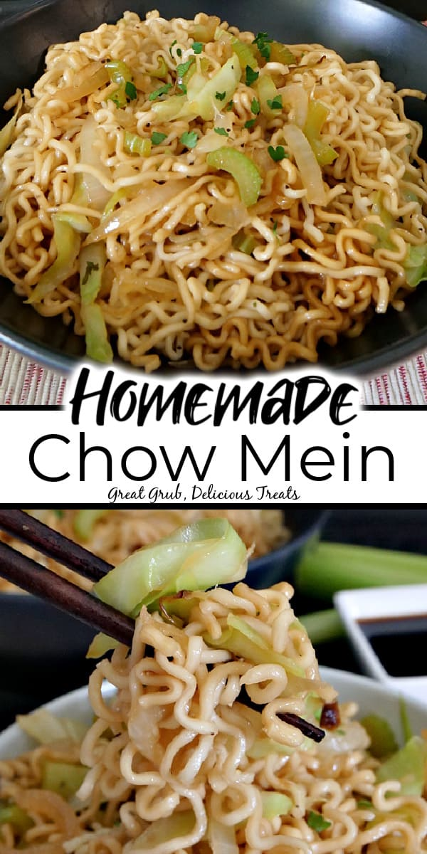 A double photo of homemade chow mein in a black bowl in the top photo and a pair of chopsticks picking up chow mein noodles in the bottom photo with the title of the post in the middle of the photo.