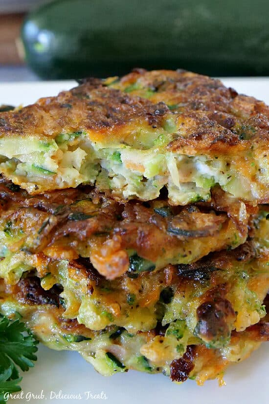 A close up photo of vegetable patties on a white plate.