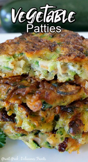A stack of veggie patties on a white plate with the title of the recipe at the top.
