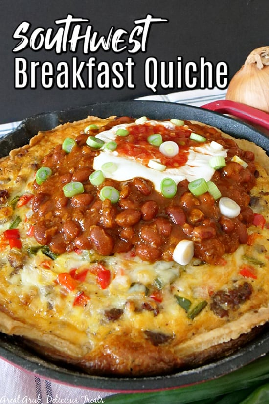 Southwest Breakfast Quiche in a red cast iron pan