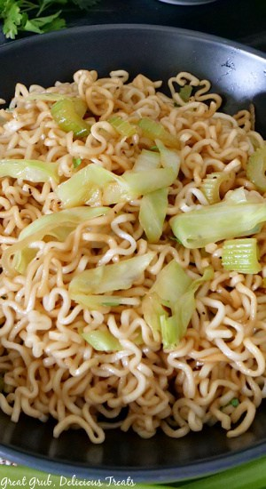 A close up shot of a black bowl filled with homemade chow mein.