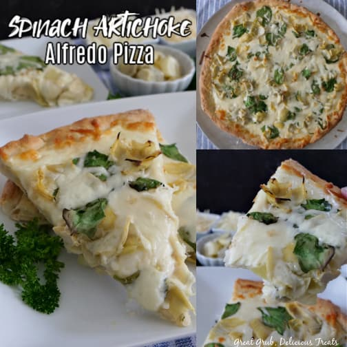 A 3 photo collage of spinach artichoke alfredo pizza slices on a white plate and a whole pizza in one of the photos.