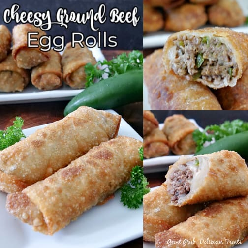 A 3 collage photo of cheesy ground beef egg rolls on a white plate with more egg rolls in the background.